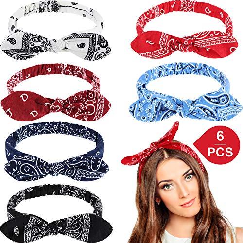 6 Stück Paisley Stirnbänder Boho Bogen Bandana Knoten Kopfbedeckung Retro Blume Gedruckt Elastische Kaninchen Ohr Haarband für Mädchen und Damen (Paisley Stil 1)