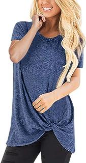 HIRIRI Summer Soft Loose Women's Tops Twist Knotted Blouses Short Sleeve/Sleeveless Round Neck Tunic T Shirt