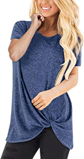 ZEFOTIM Women Casual Solid Color Short Sleeve O Neck Blouse Twist Knotted Tops T- Shirt