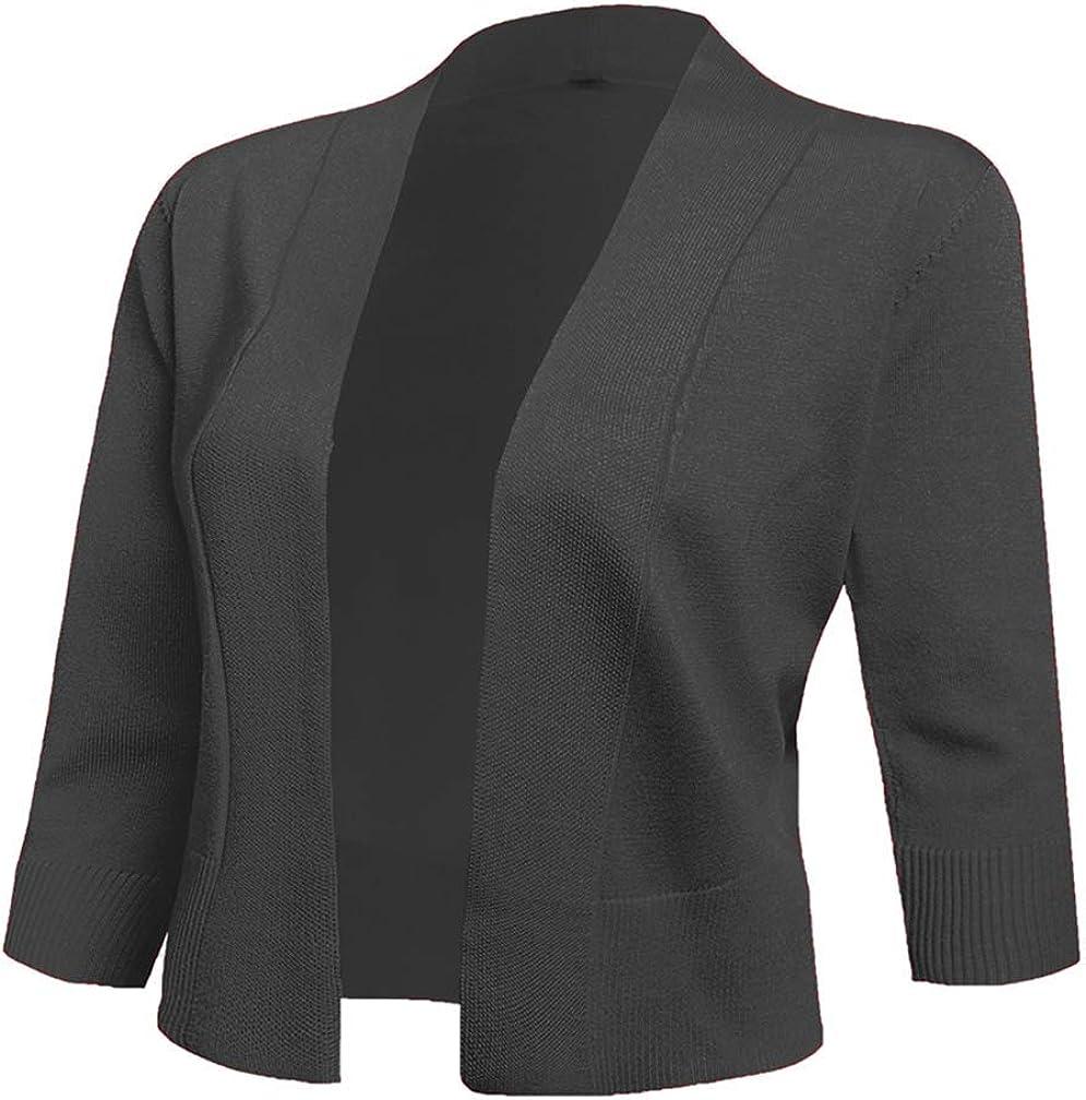AAMILIFE Women's 3 4 Sleeve Jackets 高品質 O 爆売り Cardigans Sweaters Cropped