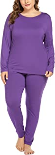 IN'VOLAND Women's Plus Size Thermal Long Johns Sets 2 Pcs Underwear Top & Bottom Pajama XL-5XL