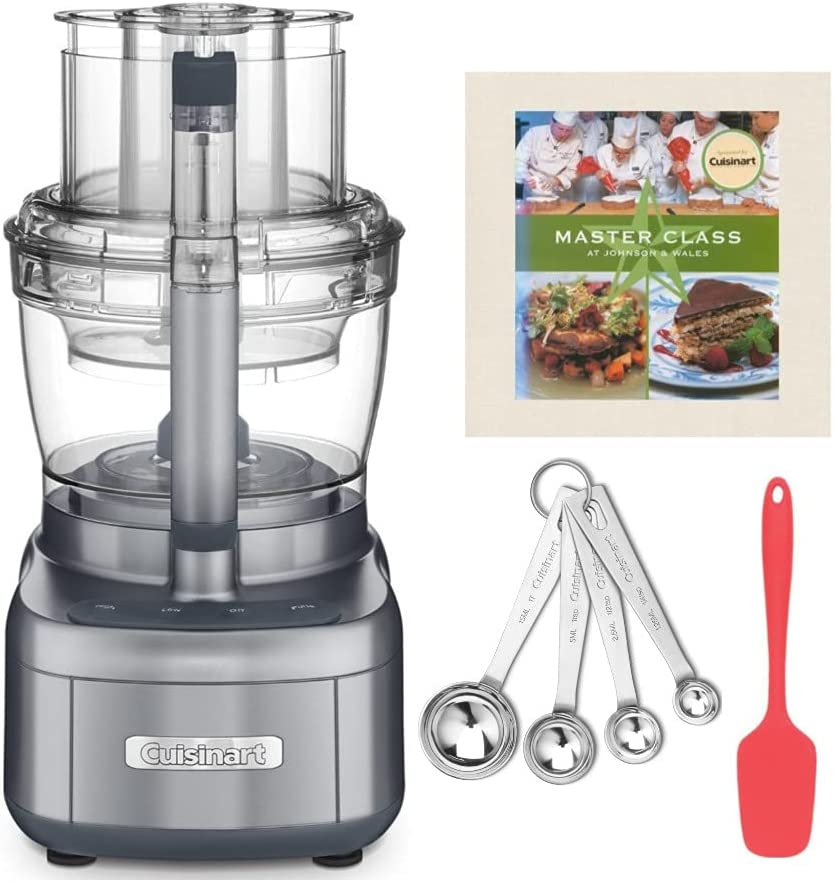 Cuisinart FP-13DGM Elemental 13-Cup Food Processor (Gunmetal Gray) with Cookbook, Measuring Spoons and Spoon Spatula Bundle (4 Items)