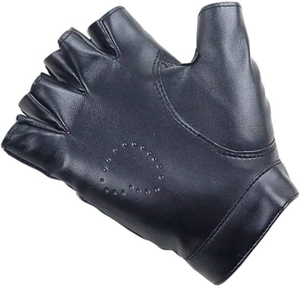 Samantha Warm Gloves Women PU Leather Gloves Female Night Club Rivets Punk Rock Show Half Finger Fitness Street Dance Thin Heart Gloves (Color : Rivets Wine Red, Size : Oneszie)