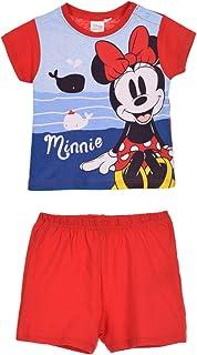 Conjunto de pijama corto y camiseta para bebé niña, diseño de Minnie Disney, color rojo y azul marino de 9 a 24 meses