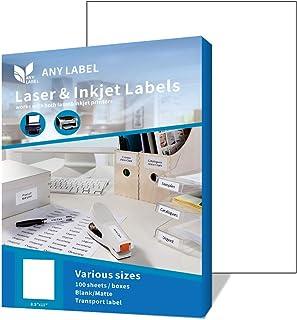 Anylabel Full Sheet Easy Peel Shipping Address Labels for Laser/Ink Jet Printer Permanent Adhesive (100 Sheets, 100 Labels)