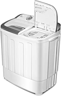 Portable Washer and Dryer,Safeplus Compact Mini Twin Tub Versatile Washing Machine with 8 lbs Washing &5 lbs Spin Dryer Load Cappacity Gravity Drain Pump and Drain Hose for apartments