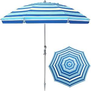 WHDZ Outdoor umbrella Stripe Patio Table Umbrella with Push Button Tilt Crank 7ft