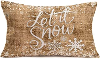 Asamour Vintage Xmas Quotes with Snowflake Cotton Linen Throw Pillow Case Home Decorative Christmas Blessings Let it Snow Cushion Cover for Sofa Couch Bedding 12''x20''