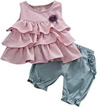Youmymine Toddler Kids Baby Girls Sleeveless Tops Ruffles Flowers Solid Ruched Shorts Pants Outfits