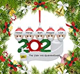 KEEOU Personalized 2020 Christmas Ornament for Quarantine Family, [Ideal for Remembering The Hard TIME in 2020], Customized Name for Family Members, Gifts for Grand Kids, Friends (Family of 5)