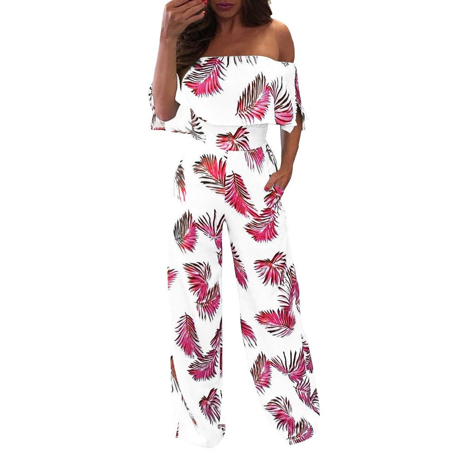 F_topbu Womens Jumpsuits Wide Leg Casual Off Shoulder Floral Leaf Printed Sparkly Capelet Loose Playsuit Lounge