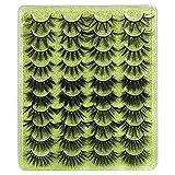8D Fluffy False Eyelashes 20MM Long Thick Lashes ALPHONSE Dramatic Crossed Volume Fake Eyelashes 20 Pairs 5 Styles Mixed