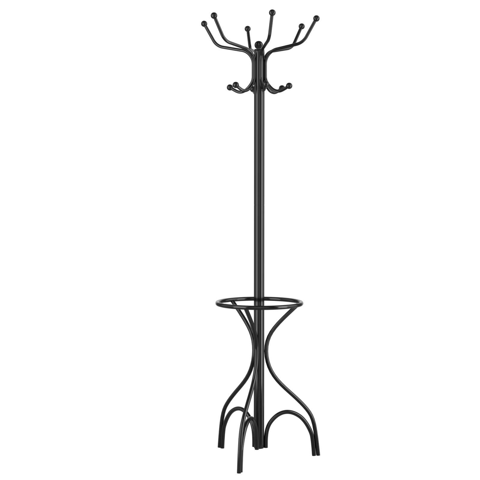 Metal Premium Coat Stand Floor Standing Umbrella Clothes Hat Rack Hanger Hooks