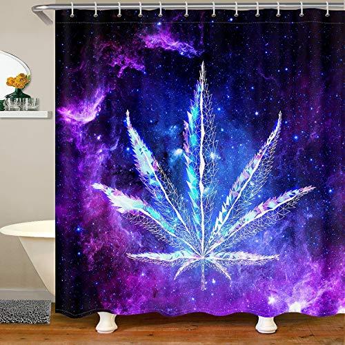 Loussiesd Cortina de baño Galaxy con diseño de hojas de marihuana y hojas de marihuana y cielo estrellado, juego de cortina de ducha para bañeras, color morado y azul, 180 x 210 cm