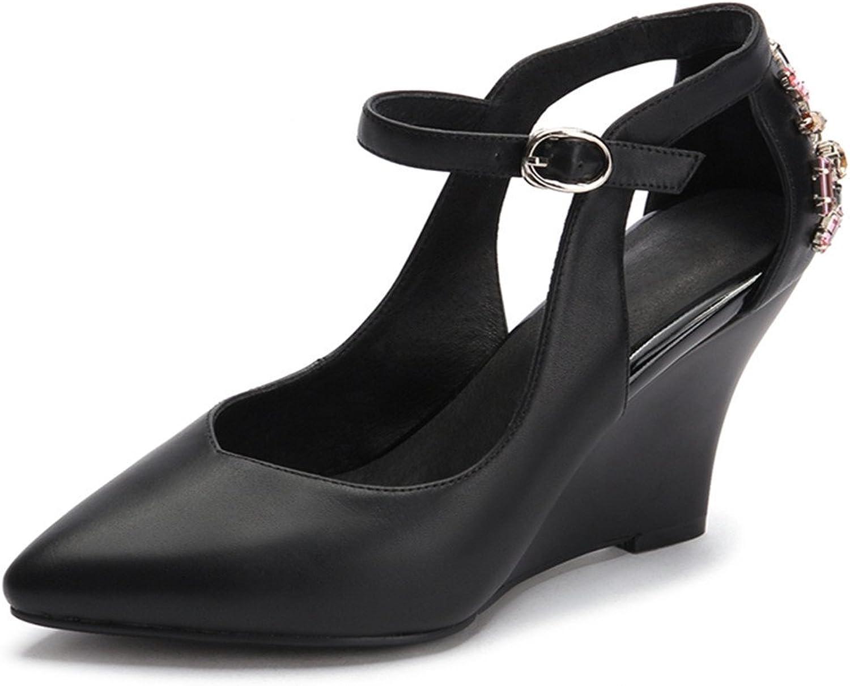 Nine Seven Genuine Leather Women's Pointy Toe Wedge Heel Rhinestones Handmade Sexy Pumps