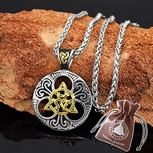 BBYOUTH Trinity Knot Collar Colgante de Acero Inoxidable Vikingo Amuleto de Regalo para Hombre Cadena de 24 Pulgadas con Bolsa de JoyeríA,Gold and Silver