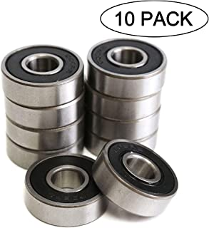 608RS 8 x 22 x 7 mm Deep Groove Ball Bearing, 10 Pcs 608 2RS, Double Black Rubber Sealed Ball Bearings, Fit for Skateboard Bearings, 3D Printer RepRap Wheel, Roller Skates, Inline Skates (Pack of 10)