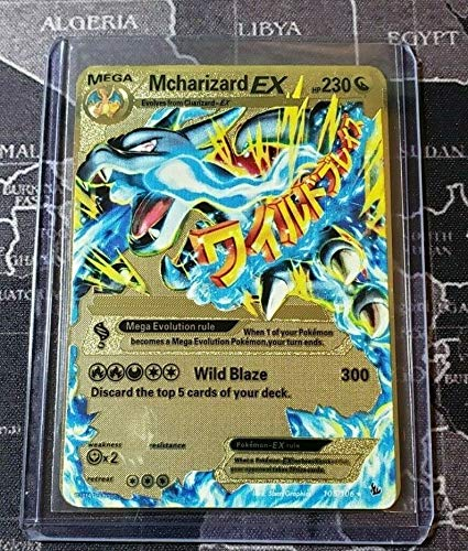 Pokemon Mega Charizard EX Flash Fire Full Art Gold Metal Custom Card Hard Metal