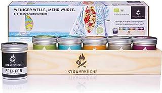 Strandküche Velero Set de 6 mezcla especias 375 g I Set orgánico con sal de mar pimienta y mezcla hierbas BBQ Masala especias dulces Colección especias caja madera hecha a mano con funda regalo