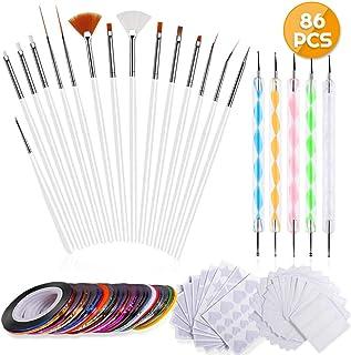 Anezus Nail Art Brushes Nail Art Painting Polish Design Tools Set with 15Pcs Nail Gel Brushes, 5Pcs Nail Dotting Pen, 30 C...