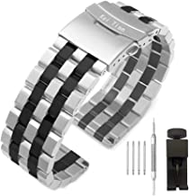 Kai Tian Brushed Stainless Steel Watch Band Strap 18mm/20mm/22mm/24mm/26mm Metal Replacement Bracelet with Double-Lock Dep...