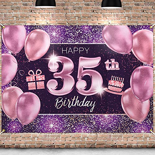 PAKBOOM Happy 35th Birthday Banner Backdrop - 35 Birthday Party Decorations Supplies for Women - Pink Purple Gold 4 x 6ft