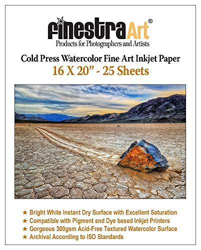 16' X 20' Cold Press Watercolor Fine Art Inkjet Paper - 25 Sheets