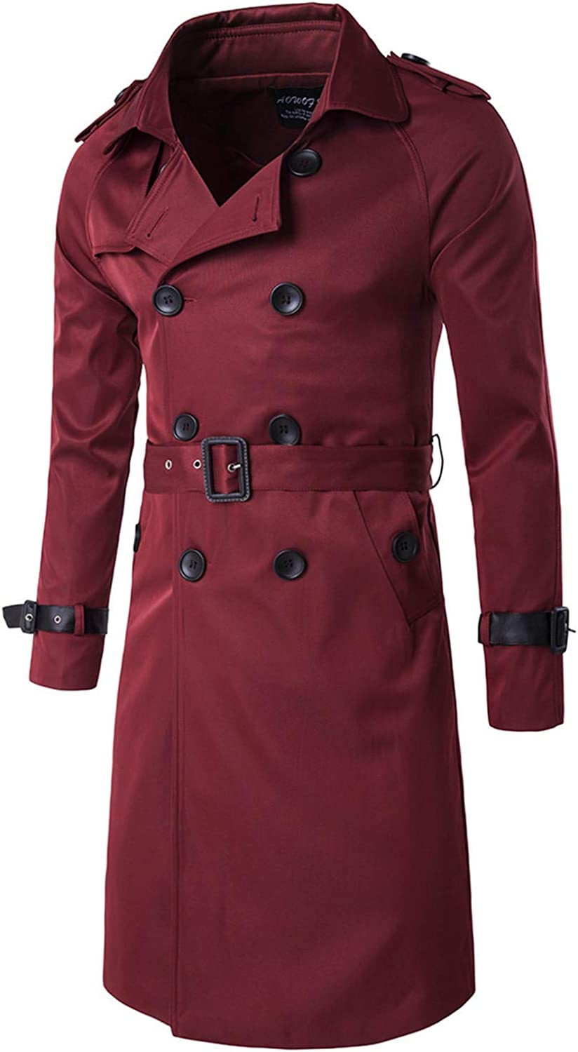 Soluo Mens Wool Blend Trench Coat Winter Long Jacket Double Breasted Overcoat Peacoat Outwear (Red Wine,Medium)