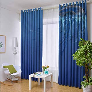 Outdoor Blackout Curtains Jellyfish,Blue Spotted Jelly Fish Aquarium Life Marine Animals Ocean Predator in The Deep Water,Blue,W96 xL108 Outdoor Patio Curtains Waterproof with Grommets