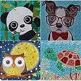 VEGCOO 4 Pack Fun DIY Mosaic Craft Kits Easy 5D Diamond Painting Kit for Kids/Children, Full Drill Painting by Number Kits (Panda/Owl/Dog/Tortoise)