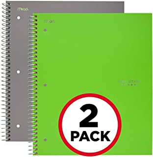 """Five Star Spiral Notebooks, 1 Subject, College Ruled Paper, 100 Sheets, 11"""" x 8-1/2"""", Gray, Lime, 2 Pack (38442)"""