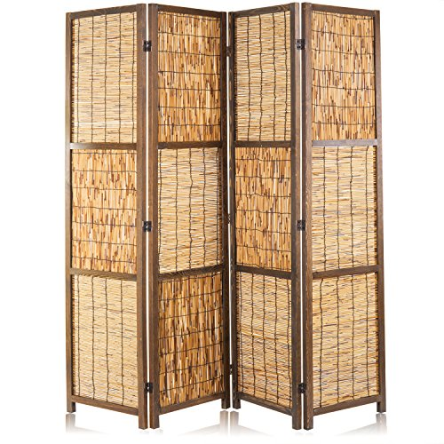 MyGift Braided Reed Woven 4-Panel Folding Room Divider with Wood Frame, Brown