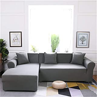 Elasticity L Shaped Sofa Cover Single/Double/Three/Four-Seat Sofa Slipcovers Cotton Solid Sofa Cover for Living Room Seat Cover 9 Three-Seater
