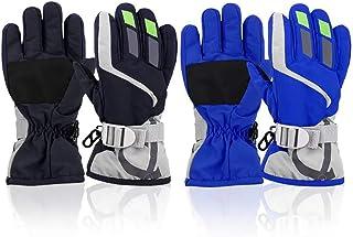 ORVINNER 2 جفت کودک نوپا پسرانه دستکش برفی دستکش زمستانی اسکی کودکان ضد آب دستکش قابل تنظیم گرم