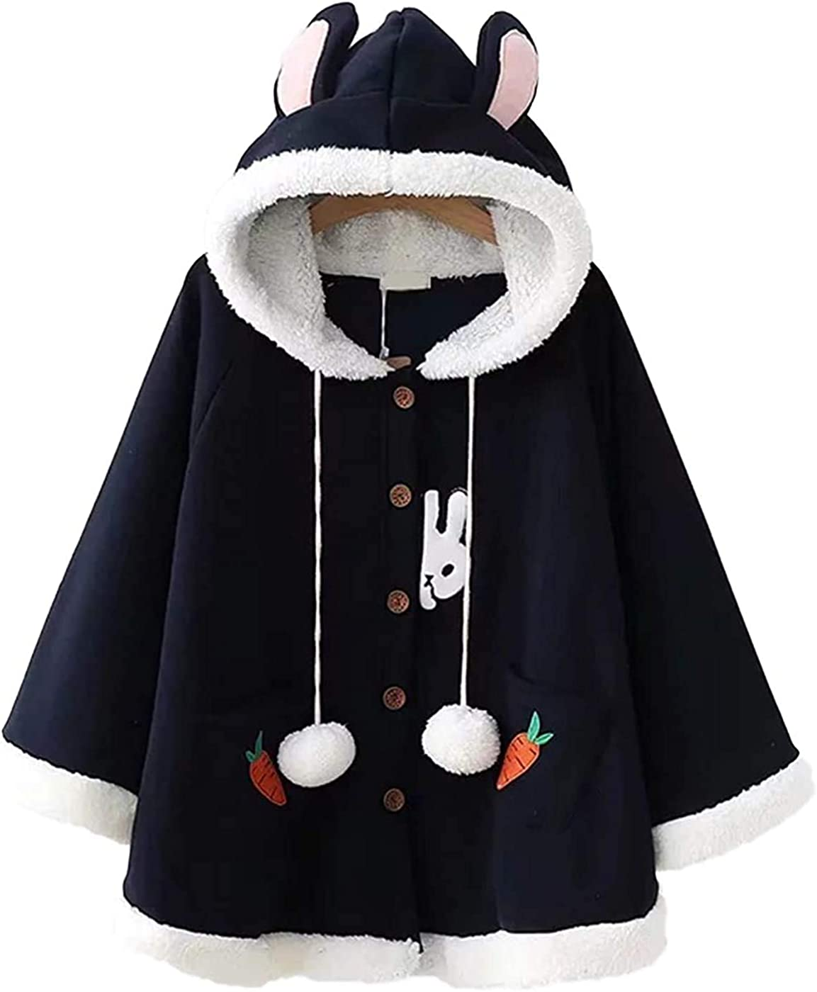 Girl Cute Hooded Cloak Soft and Comfortable Cotton Rabbit Embroidery Vertical Ear Cloak Coat