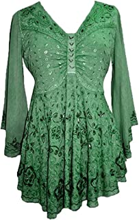 Women's Medieval Butterfly Embroidered Sequin Flair Bell Sleeve Top Blouse OR Dress