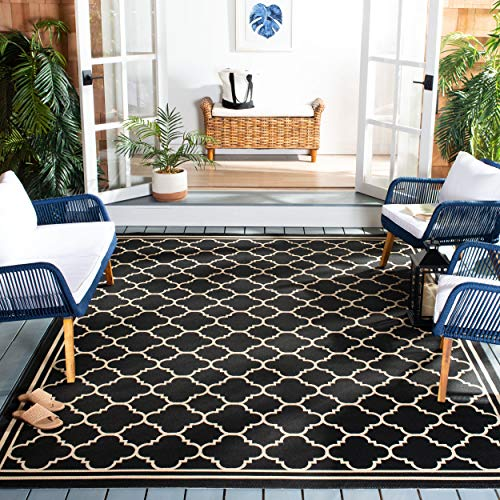 Safavieh Courtyard Collection CY6918-226 Indoor/Outdoor Area Rug, 9' x 12', Black/Beige