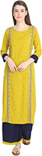 DESI NOOR A straight Line Palazzo Kurti set on Rayon fabric with computer Emad in Parrot Yellowi & Blue colour Combo (DN-067)