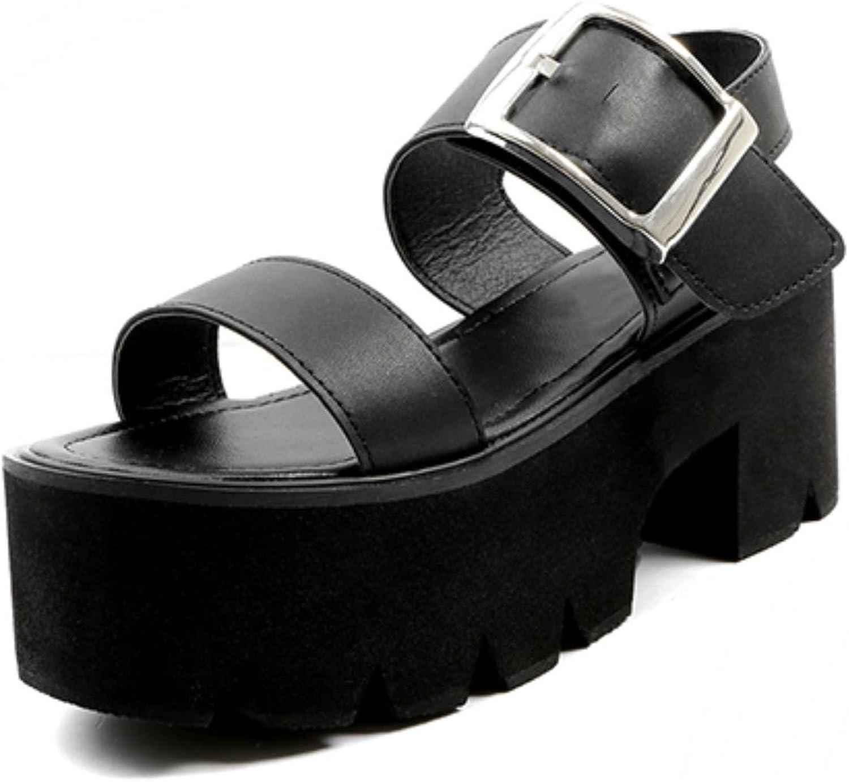 Gdgydh Summer Women Sandals Adult Fashion Leisure Black Square shoes
