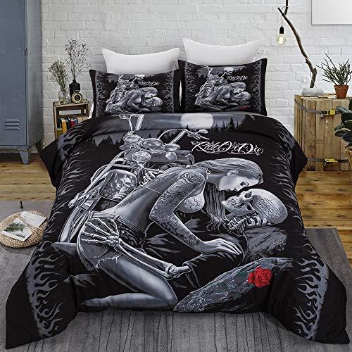 WONGS BEDDING Bettwäsche 3D Totenkopf Bettbezug 155×220cm Mikrofaser Bettwäsche Set 3 Teilig 1 mal Bettbezüge mit Reißverschluss und 2 mal 80×80 cm Kissenbezüge