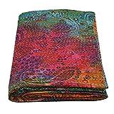 Janki Creation Tagesdecke aus Baumwolle, Batik-Optik, indische Handarbeit, Queen-Kantha-Steppdecke, Überwurf, Wohn-Tagesdecke