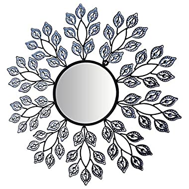 LuLu Decor, Decorative Crystal Leaf Metal Wall Mirror, Diameter 24 , Inner Round Mirror 9  for Living Room & Bed Room