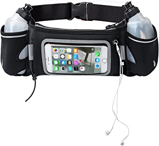 Touchscreen Hydration Running Belt With BPA FREE Water Bottles for 5.5''Screen Cell Phones including iPhone 6 plus / Galaxy Note 5 , FAMILIFE