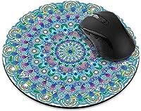 滑り止めの丸いマウスパッド たっての熱ホームオフィスとゲームデスク用の紫と白の曼荼羅マウスパッド-BohemianBlueTealMandala
