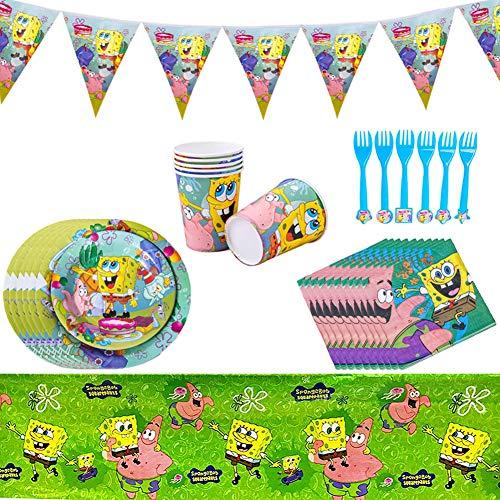 SUNSK Partygeschirr Kindergeburtstag Set für Spongebob Geburtstag Deko Banner Einweg Teller Becher Servietten Spongebob Geburtstag Tischdeko 6 Personen