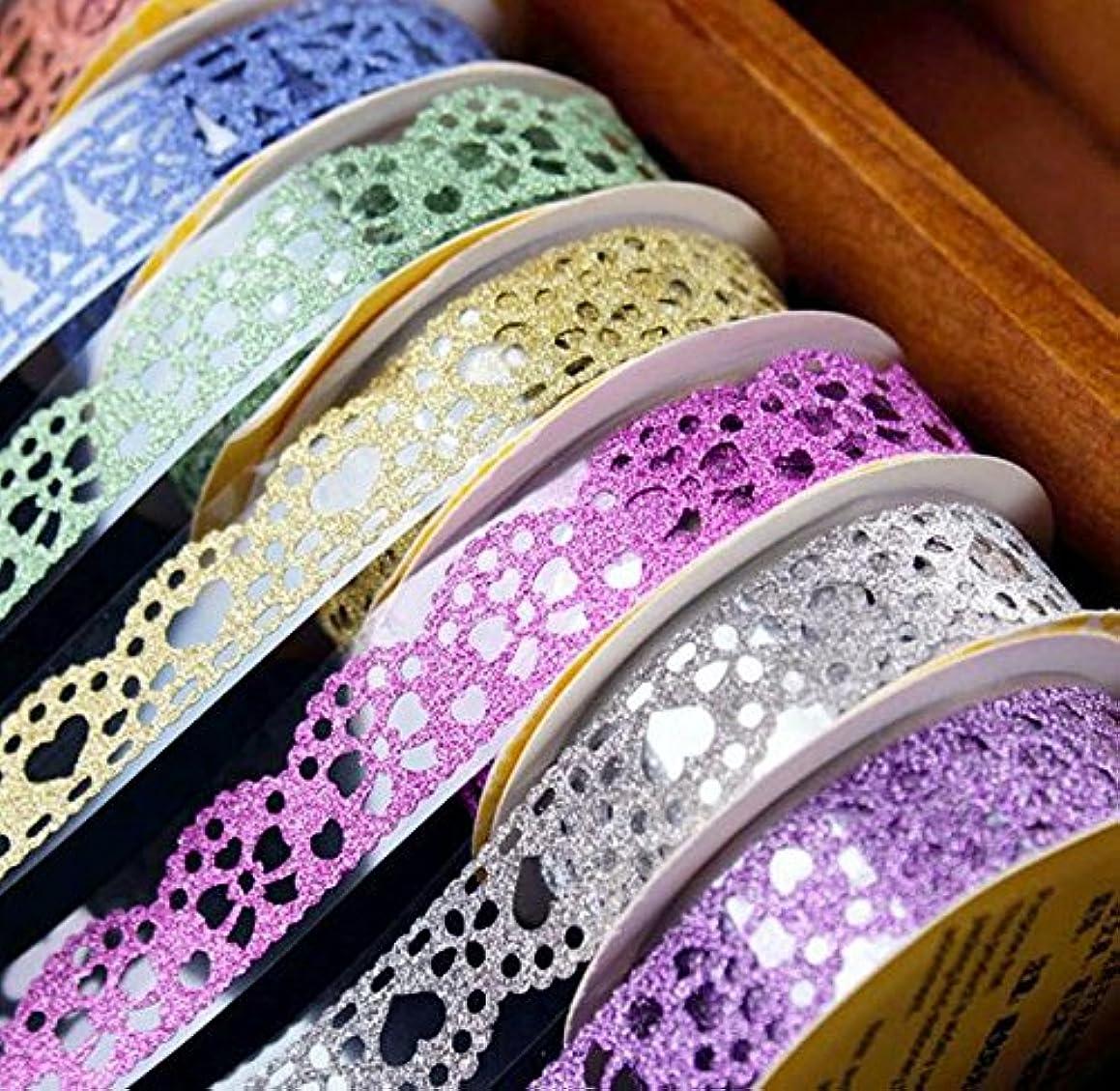 Washi Tape,Lace Pattern Glitter Bling Self-adhesive Tape,Diamond Washi Tape Masking DIY Scrapbooking Lace Tape Sticker 6 Roll Color random