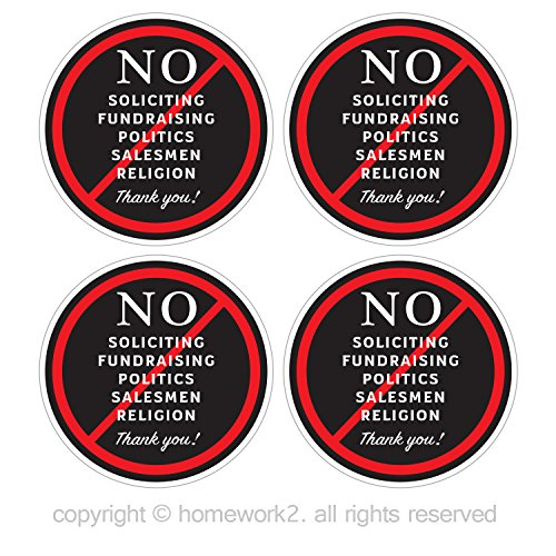 No Soliciting Sign Stickers for Home and Business, Vinyl Decals, UV Protected & Waterproof, 4 X 4 Inch - 4 Labels