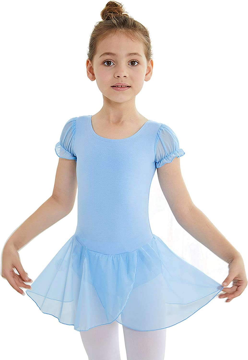 MdnMd Spring new work one after Philadelphia Mall another Blue Girls' Puff Sleeve Dance Ballet Leotard Ski Tutu with