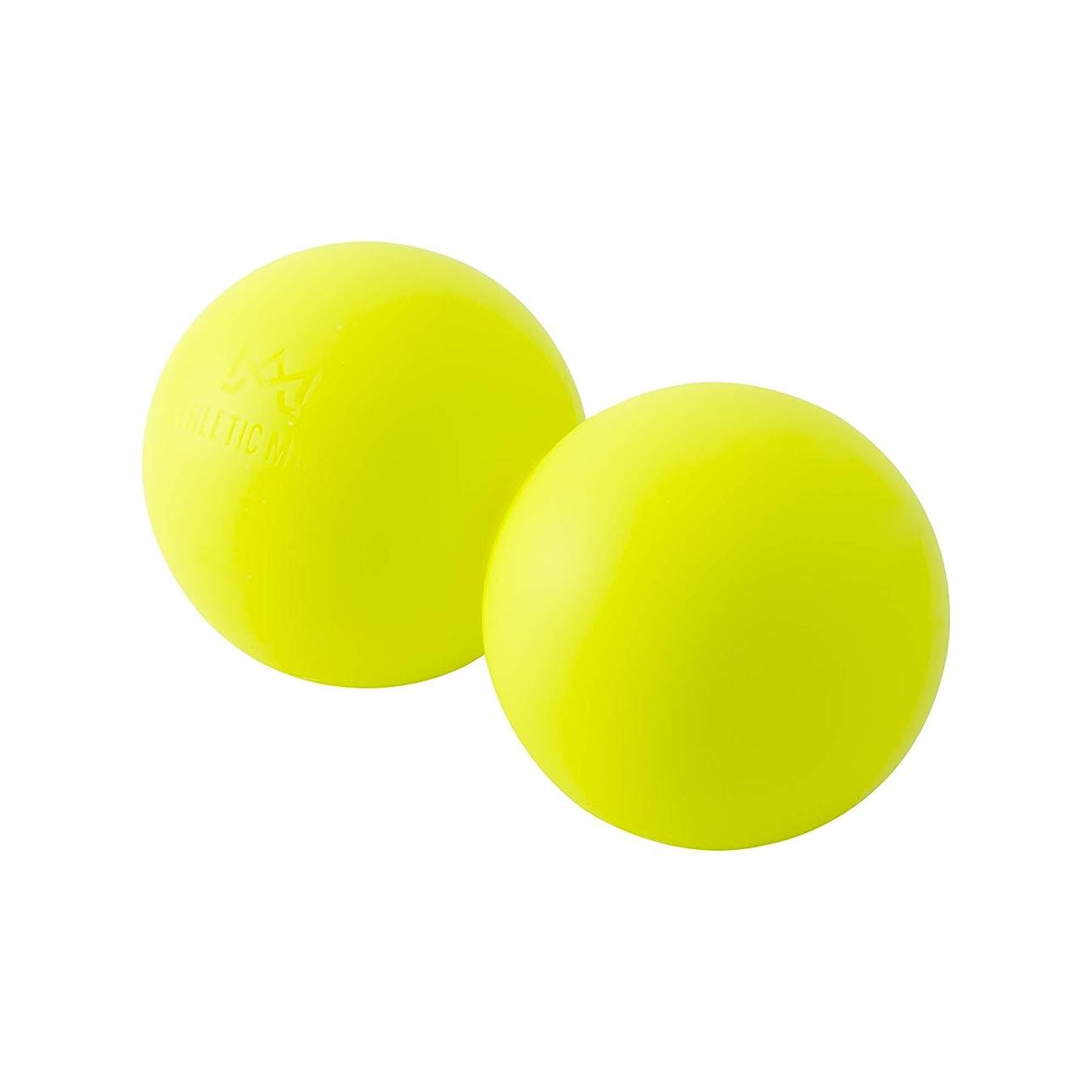 分泌する宮殿道徳教育ATHLETIC MART ピーナッツ型ストレッチボール マッサージボール ラクロスボール2個サイズ ツボ押し (蛍光イエロー)