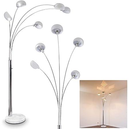 Lampadaire Nikkala en métal chromé et à base en marbre véritable pour 5 ampoules E14 max 40 Watt, idéal pour éclairer un salon ou un bureau